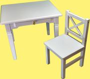 Детский стол с ящичком  и стульчик (спинка крестик)
