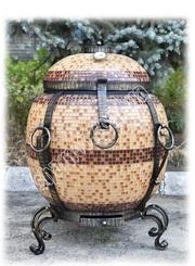 Купить переносной тандыр для дома и дачи - Бочка утепленная в мозаике